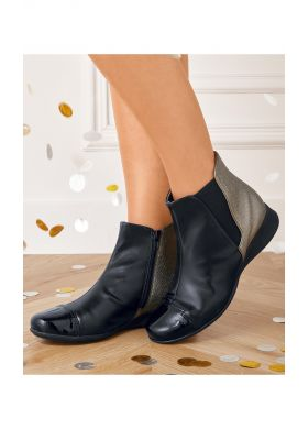 Zip ankle boots with different textures - AFIBEL