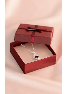The Pendant with a real garnet and matching Chain - AFIBEL