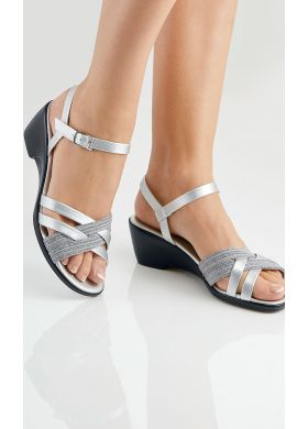 Sandals with mixed materials effect - AFIBEL