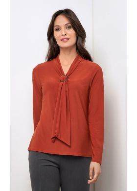 Stretch tunic with decorative neckline - AFIBEL