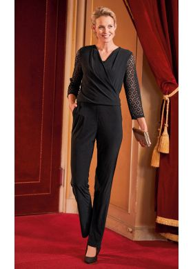 Plain jumpsuit with lace 3/4-length sleeves - AFIBEL