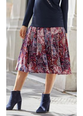 Women's flared skirt in a print knit fabric - AFIBEL