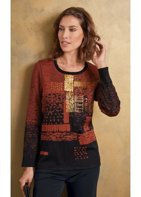 Jumper with a graphic jacquard knit - AFIBEL