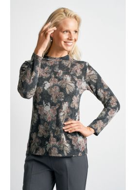 Roll neck top in a print knit - AFIBEL