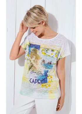 T-shirt with kimono sleeves and a devoré jersey front - AFIBEL