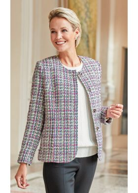 Jacket with a round neckline in a basket weave fabric - AFIBEL