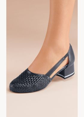 Leather court shoe with cut-out sides - AFIBEL