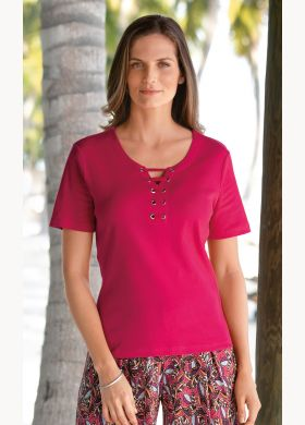 T-shirt with lace-up Henley neckline - AFIBEL